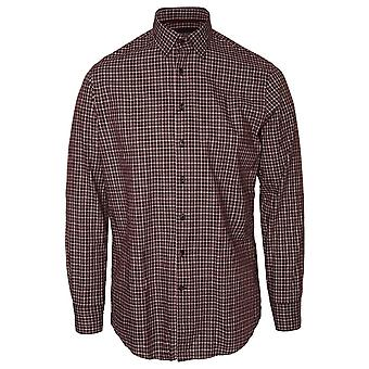 Hackett Long Sleeve Melange Tri Colour Shirt, Burgundy