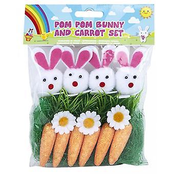Pom Pom Bunny & morot som påsk hantverk