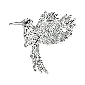 Colección eterna dulce néctar colibrí de cristal tono plata broche
