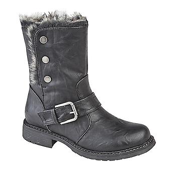 Cipriata Womens/Ladies Andreana Press Stud Fold Down Biker Style Leather Boot