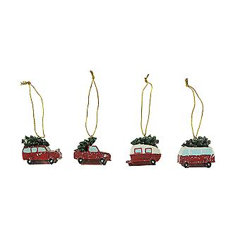 Red Vintage Retro Vehicles Christmas Ornaments Set of  4