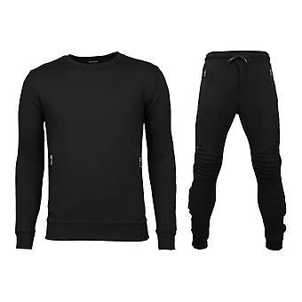 Tracksuits Basic-Buttons Joggingpak-Black