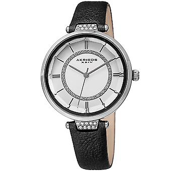 Akribos XXIV AKS191116BK Women's Quartz Swarovski Crystal Leather Strap Watch