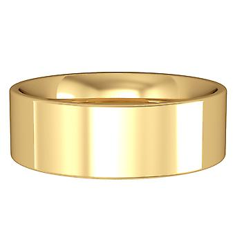 Jewelco London 9ct Yellow Gold - 7mm Flat-Court Band Wedding Commitment / Wedding Ring