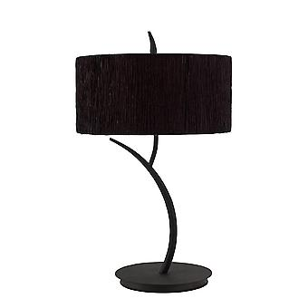 Mantra Eve Table Lamp 2 Light E27 Large, Antracite With Black Round Shade