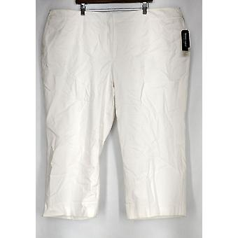 Alfani Plus Pants Cropped Control Solid Bright White Womens