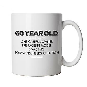 60 Year Old One Careful Owner Funny Mug | Humour Laughter Sarcasm Jokes Messing Comedy | Ideal Top Father Mother Day Wife Husband Mum Dad | Age Related Cup Gift