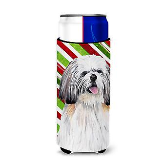 Shih Tzu Candy Cane Holiday Christmas Ultra Beverage Insulators for slim cans SC