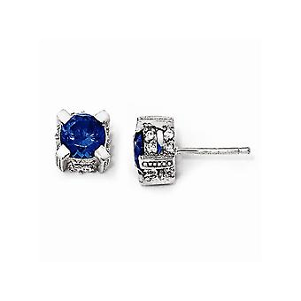 925 Sterling Silver Simulated Post Earrings Rhodium-plated 6.5mm Synthetic Sapphire and Cubic Zirconia Stud Earrings