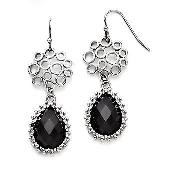 Stainless Steel Dangle Polished Black Simulated Onyx Shepherd Hook Teardrop Earrings