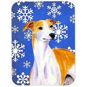 Whippet Winter Snowflakes Holiday Glass Cutting Board Large