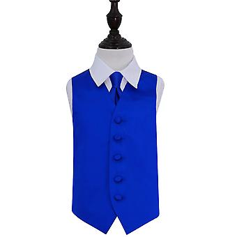 Boy's Royal Blue Plain Satin Wedding Waistcoat & Tie Set