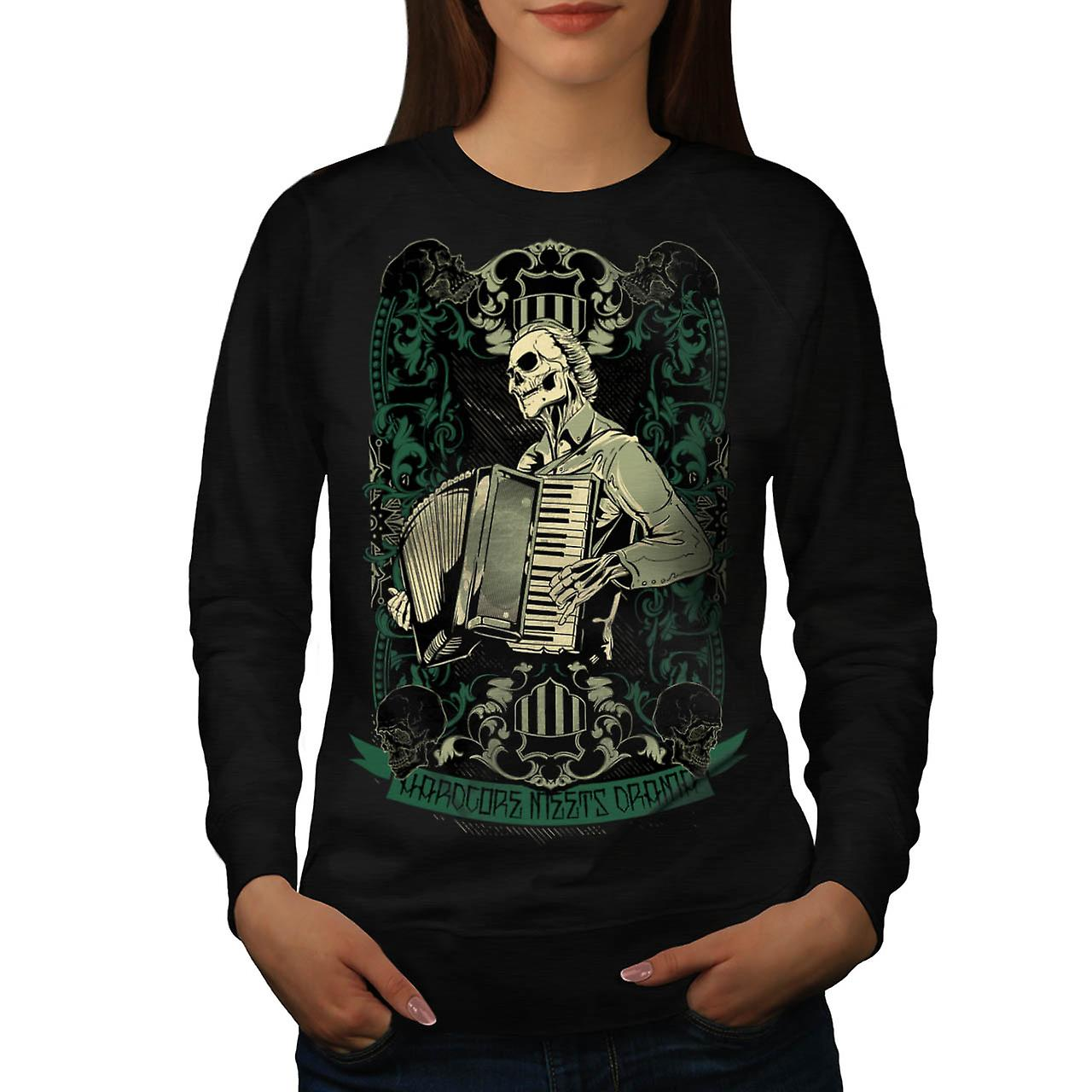 Hardcore Night Piano Accordion Women Black Sweatshirt | Wellcoda