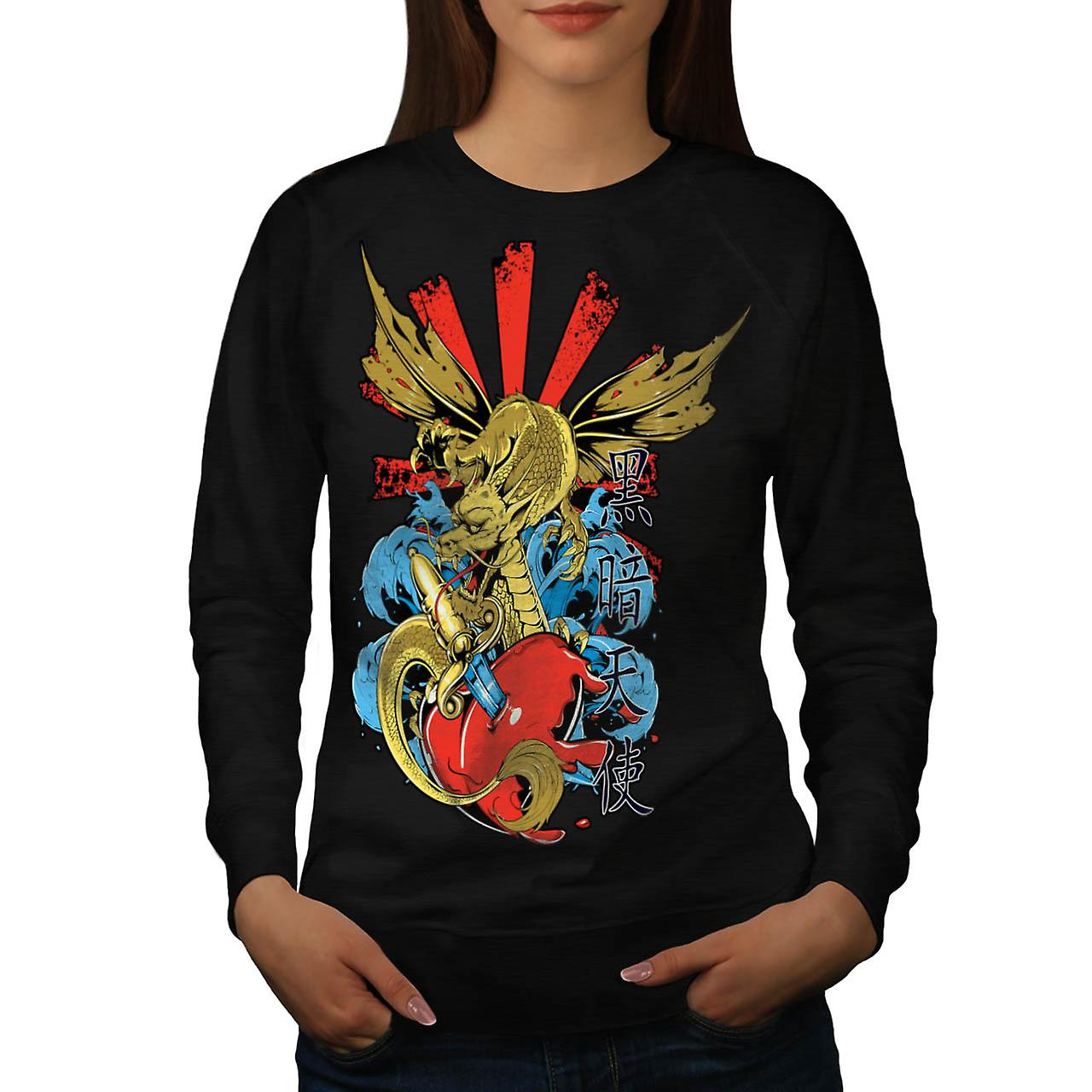 Monster Dragon hjertet Love Hurts kvinner svart Sweatshirt | Wellcoda