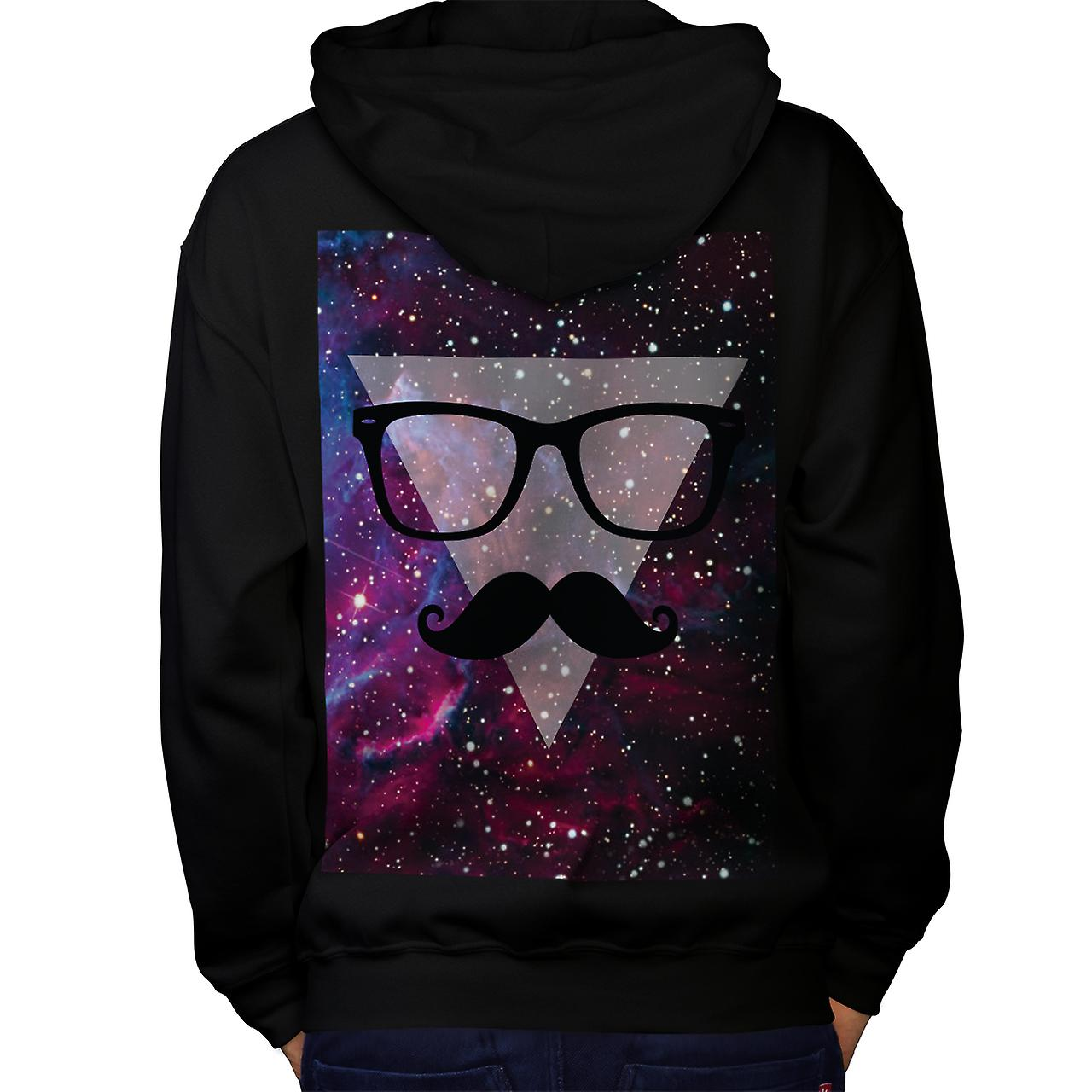 Master Disguise Space Funny Face Men Black Hoodie Back | Wellcoda