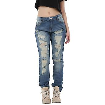 Vintage Wash Style Faded Ripped Distressed Frayed Boyfriend Jeans - Blue