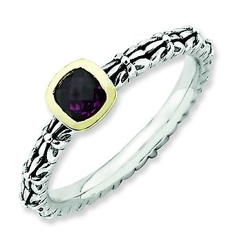 2.5mm Sterling Silver and 14k Stackable Expressions Checker-cut Rhod. Garnet Antiqu - 10 Inch