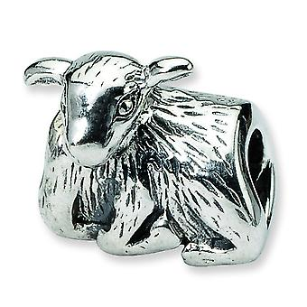 Sterling Silver Polished Antique finish Reflections SimStars Lamb Bead Charm