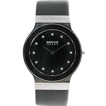 Bering ladies slim ceramic - 32834-442 leather wristwatch watch