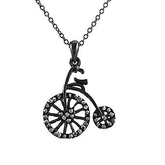 Gunmetal Antique Bicycle Necklace with Hematite Rhinestones