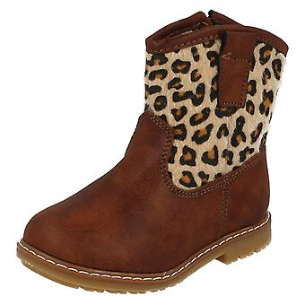 Infant Girls Spot On Zipped Cowboy Style Printed Boots H4110