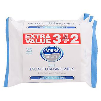 9 PACKS ATHENA 3 IN 1 CLEANSING WIPES ENRICHED WITH ALOE VERA ALL SKIN TYPES *9X25 WIPES*