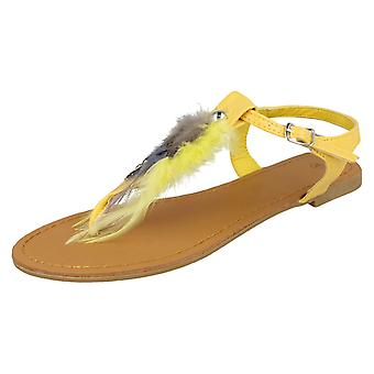 Ladies Spot On Ankle Strap Feather Toepost