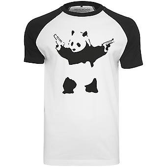 Merchcode shirt - Banksy Panda white Raglan