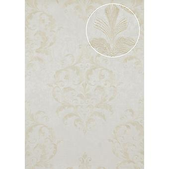 Baroque wallpaper Atlas marked ATT-2805-3 luxury liner wallpaper with floral ornaments shiny bright ivory cream white 7,035 m2