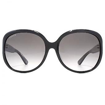 Gucci Classic Oversize Round Sunglasses In Black On Grey