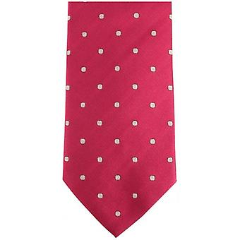 Bassin and Brown Medium Spot Silk Tie - Cerise/Black