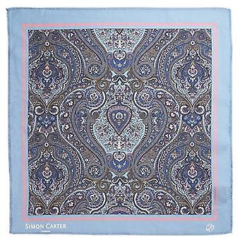 Simon Carter Framed Paisely Silk Pocket Square - Pale Blue/Pink