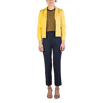 Miu Miu Women's Cotton Enclosed Buttoned Light Jacket Yellow