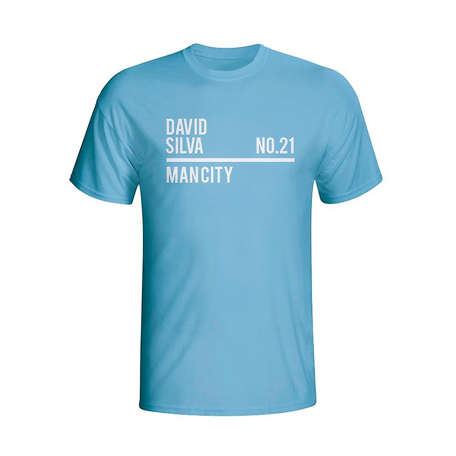 David Silva Man City Squad T-shirt (sky)