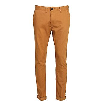 Bellfield Melford Flat Fronted Cotton Chinos | Tobacco