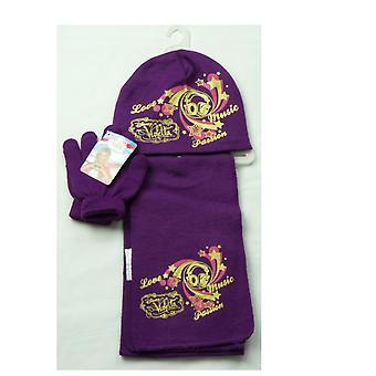 Girls Disney Violetta Winter Set Beanie Hat, Scarf & Gloves