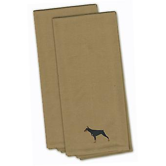 Doberman Pinscher Tan Embroidered Kitchen Towel Set of 2