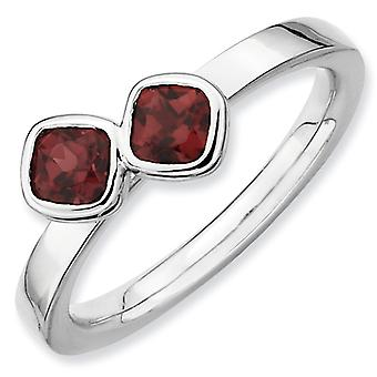 Sterling Silver Bezel Polished Rhodium-plated Stackable Expressions Db Cushion Cut Garnet Ring - Ring Size: 5 to 10