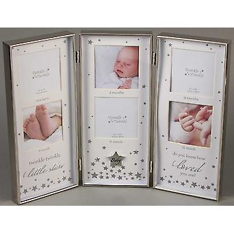 Twinkle Twinkle Silver Triple Baby Photo Frame