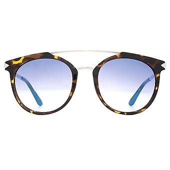 Guess Round Double Bridge Sunglasses In Dark Havana