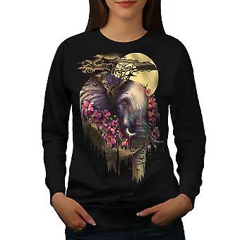 Elephant Flower Animal Women BlackSweatshirt | Wellcoda