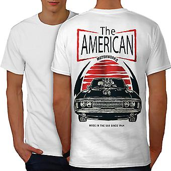American Car Old Vintage Men WhiteT-shirt Back | Wellcoda