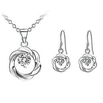 Silver And White Crystal Pendant Necklace And Earrings Set