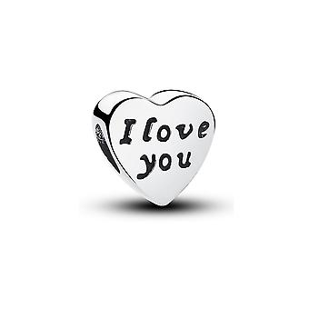 Charms Bead heart I LOVE YOU in Silver 925