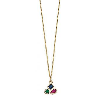 Elements Gold Emerald Ruby and Sapphire Pendant - Gold/Blue/Red