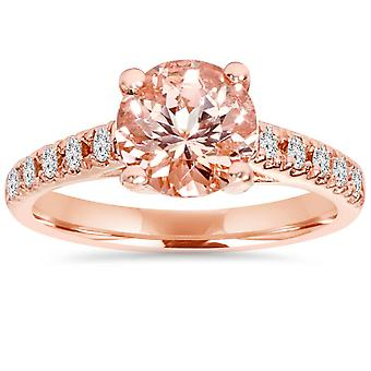 8MM Morganite & 1/4 karat diamant 14K Rose Guld Engagement Ring (1 3/4TW)