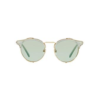 Valentino Metallic Mesh Shield Round Sunglasses In Silver Blue