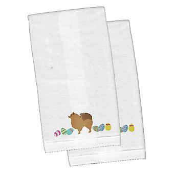 Pomeranian Easter White Embroidered Plush Hand Towel Set of 2