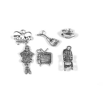 Packet 6 x Antique Silver Tibetan 12-25mm Living Room Charm/Pendant Set ZX17090