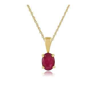 9ct Yellow Gold 0.95ct Ruby Oval Single Stone Pendant on Chain